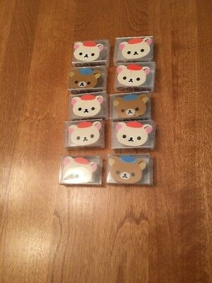 San x Rilakkuma and Korilakkuma Face Eraser Lot Of 10 NEW IN BOXES