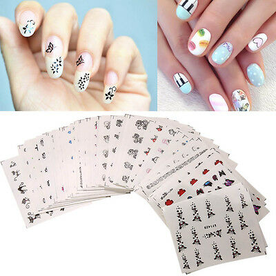 50Pcs Colorful Mixed Flower Nail Stickers Decorations Water Transfer Wraps Nail