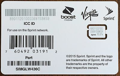 Sprint Nano Sim Card for iPhone 5S Sprint Boost Virgin SIMGLW436C 63.07