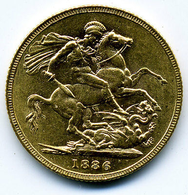 Australia 1886S Gold Sovereign St George Rev. Xf+