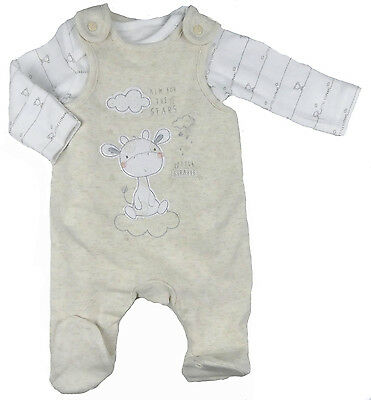 Baby Unisex Dungaree and Vest Outfit Set Cute Giraffe Theme Ex Mother Baby Store