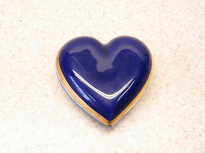 Vtg Agostinelli  Porcellane D'arte Cobalt Blue 22K Gold Heart Trinket Box Marked