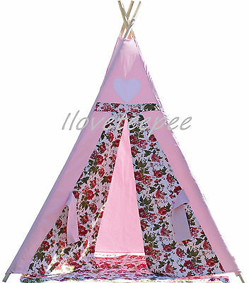 Teepee tipi Kids teepee tent play tent,pink flower teepee with poles,mat & flags