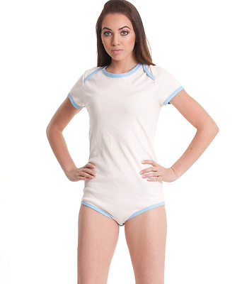Unisex Ultra Soft Baby Blue and White Snap Closure Adult-Sized One Piece Romper