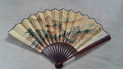 vintage Chinese hand held silk fan signed with wooden sticks Great Wall of China
