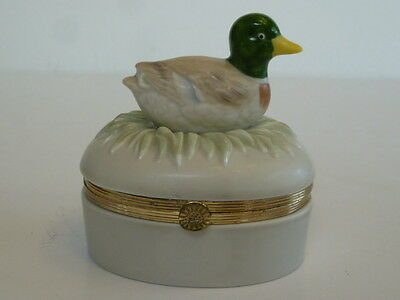 FITZ AND FLOYD Trinket Box, Dish W/Duck, 1986
