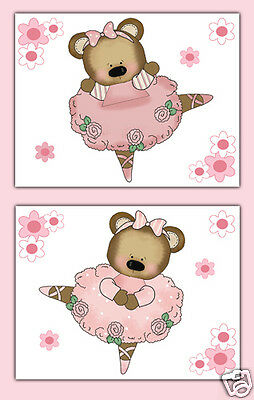 Ballerina Bear Wall Art Prints Baby Girl Ballet Dance Woodland Animal Nursery