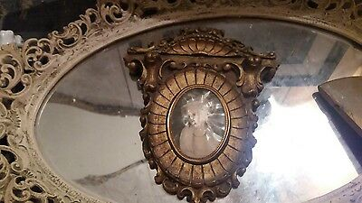 Antique Victorian Syroco Wall Shelf Gold Guilted