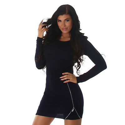 Womens Long Sleeve Knitted Sexy Bodycon Party Mini Dress wit Zip size 8-10