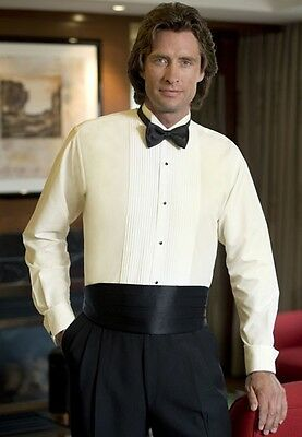 New Ivory Tuxedo shirt Wing Pleated Tux Poly Cotton Blend ALL SIZES TUXXMAN