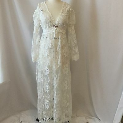 Claire Pettibone Wedding Lace Peginoire Set Small White Long Vintage