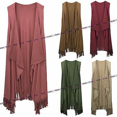 New Womens Ladies Italian Sleeveless Tassel Suede Suedette Waterfall Jacket Coat