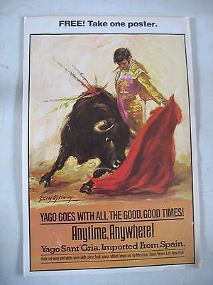 VINTAGE 1970'S YAGO SANT' GRIA Sangria wine advertising POSTER Bullfighter
