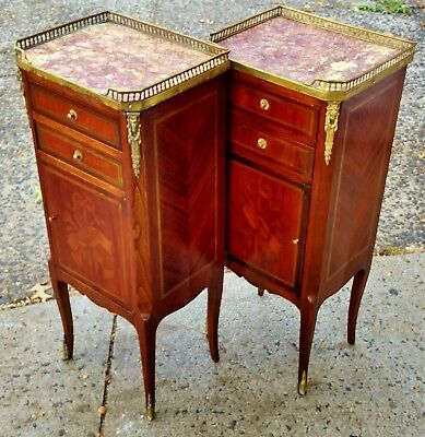 Pr. Antique French Louis XV Marble Top Inlaid 2 Draw COMMODES Chest Night Stands