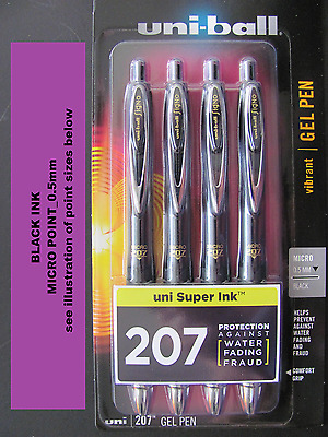 uni-ball Signo 207 Retractable Gel Pens Micro Point Black Ink 4-Pack 61270PP