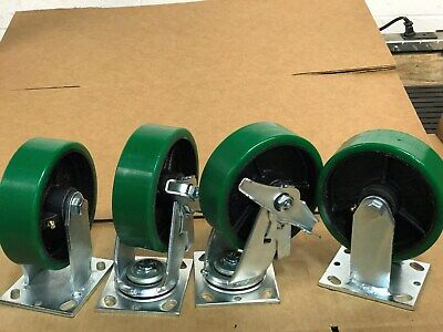 "6"" x 2"" Swivel Polyurethane caster with Brake & Rigid Set of 4 (1000lb/each)"