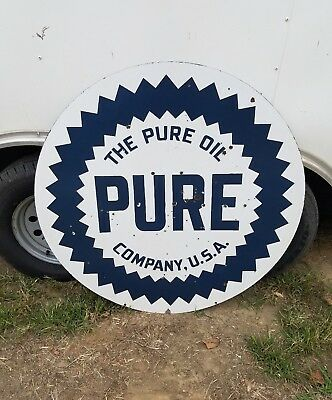 42in. Pure oil Sign. Double sided. Porcelain
