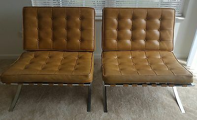 Pair of Tan Barcelona Style Chairs by Chris Boyce Assoc Faux Leather Stainless
