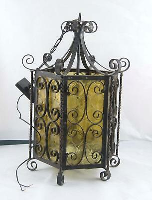 Antique Vintage Underwriters Lab Steel Yellow Glass Light Chandelier Gothic