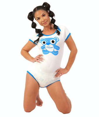 Unisex Blue Teddy Bear Detailing White Snap Closure One Piece Romper