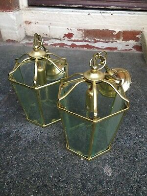 Pair Of Brass Hanging Lanterns - Good Condition - Nice Faceted Glass Panes