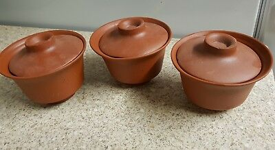 Three Yixing bowls and covers