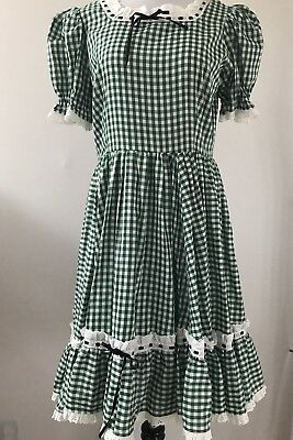 Green And White Gingham Square Dance Dress