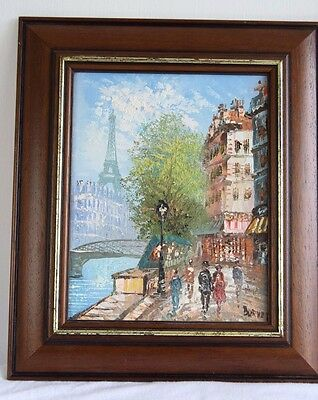 Vintage Style Oil On Canvas Painting French Scene Signed