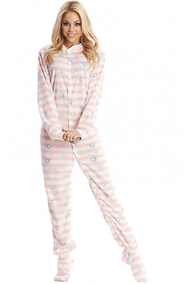 Unisex Soft Pink Striped Baby Elephants Adult Sized Footed Snap Closure Pajamas