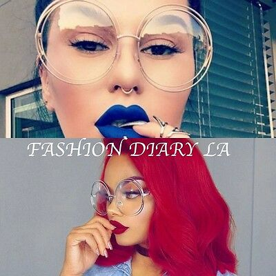 """Oversized Round Clear Lens Fashion """"carlina"""" Metal Double Wire Circle Glasses Bn"""