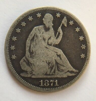 1871 Seated Liberty Half Dollar Silver Coin