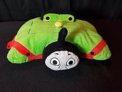 "Plush Thomas Tank Engine Train And Friends Percy Pillow Pet Pee Wee 14"" X 12"""