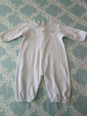 Petit Ami Baby Boy Sweet Light Blue One Piece w/Stitched Cars and Plane Size NB