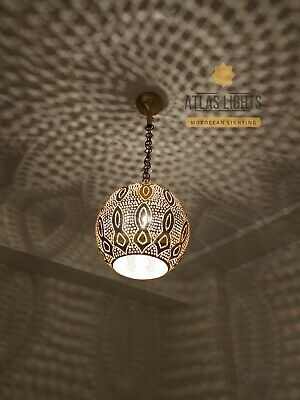 Moroccan Ceiling Brass Chandelier Hanging Lamp Pendant Light Vintage Antique Vtg