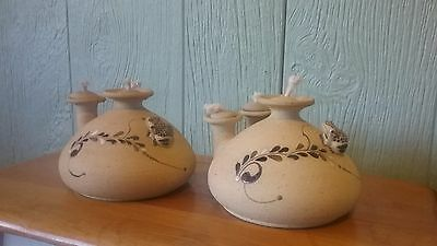 Southwest Pottery Oil Lamp Vintage Sandcast LOT of (2) Signed w/ Frog Accents