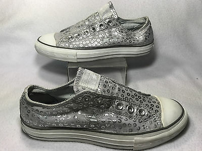 Womens 7.5 Converse One Star Silver Leopard Sequin Print Sneakers Sparkle  Shoes 6b0609d9cc91