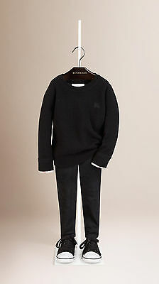 NEW Burberry Girl Boys Check Trimmed Cashmere Sweater Pullover Size 8Y/128cm