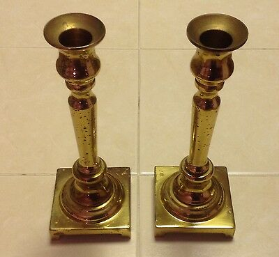 Vintage Lacquered Solid Brass Candlestick Holders Machine Screwable 7 1/2