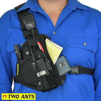 Radio Holster Chest Harness - Right - Black - Two Ants Pharaoh CT100SRBK