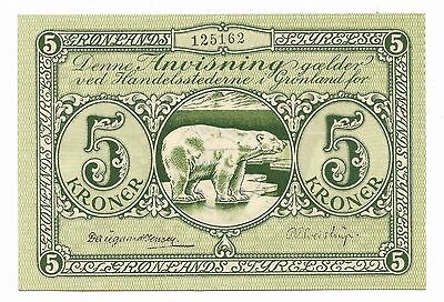 Greenland 1943 Issue 5 Kroner Polar Bear Banknote Gronlands Styrelse