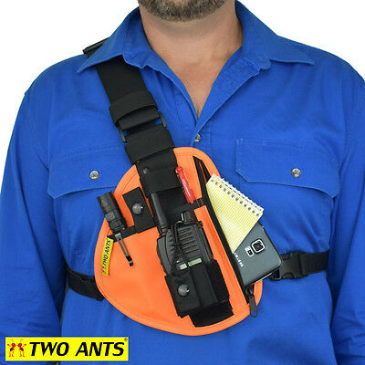 Radio Holster Chest Harness - Right - Orange - Two Ants Pharaoh CT100SROE