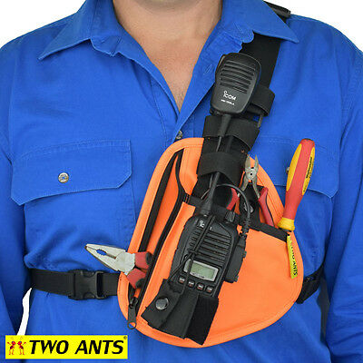 Radio Holster Chest Harness - Left - Orange - Two Ants Pharaoh CT100SLOE