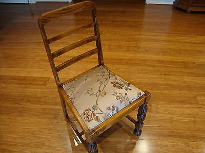 Vintage chair, refurbished, wood, new material on seat