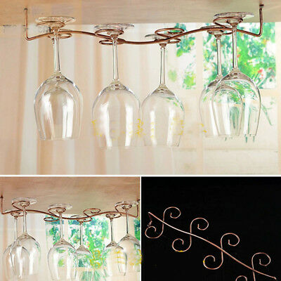 Bronze Stainless Steel Side Stand Hanging Wine Glass Rack Cup Holder Racks Save