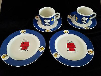Peanuts Snoopy Woodstock 2 Place Settings 6 Pcs Porcelain Cups Plates Saucers