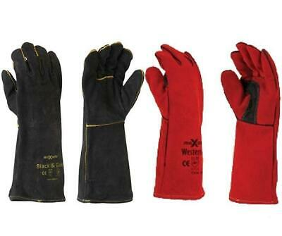 Maxisafe Black Red Welders Gauntlet Gloves Fabrication Foundry Safety 2 Pairs