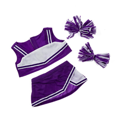 Teddy Bear Cheerleader in Purple Teddy bear clothes