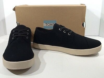 TOMS Mens Paseo Size 11 Black Canvas Lace Up Casual Sneakers Shoes X3-1876