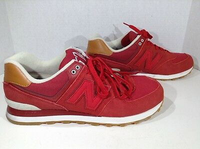 NEW BALANCE 574 Men's Size 11 Red Lace Up Casual Athletic Shoes X1-1694