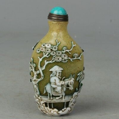 Chinese Exquisite Handmade Old man horse ship carving Glass snuff bottle